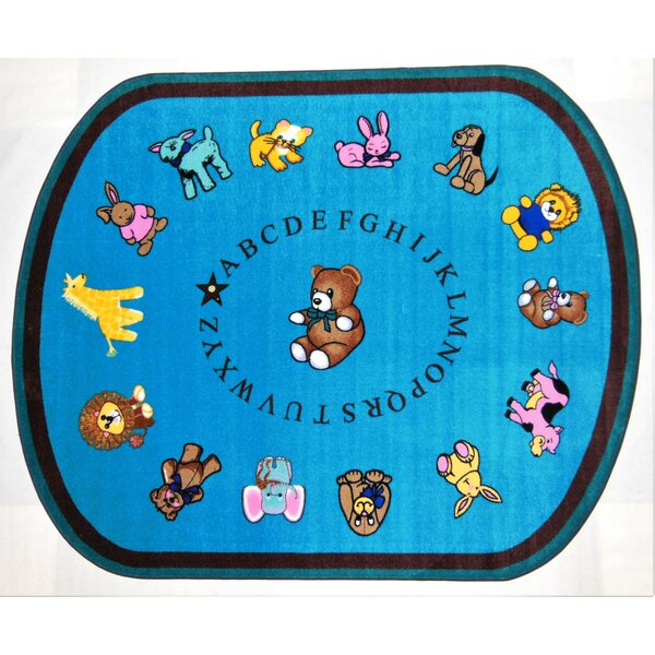 Baby Animals Blue Area Rug by Kids World Carpets