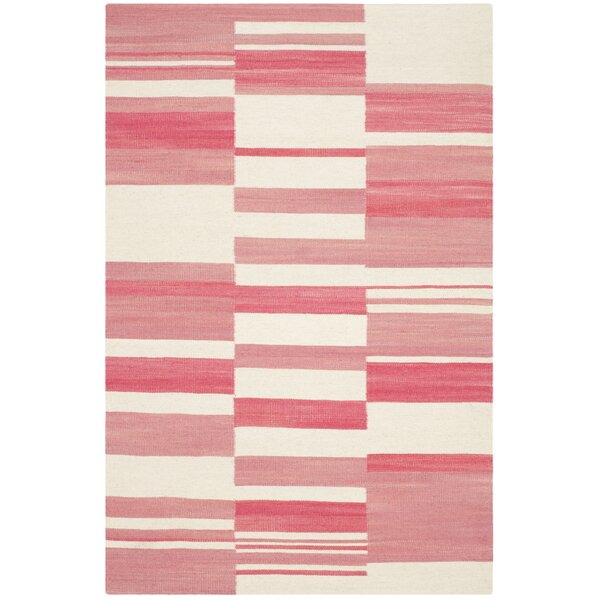 Kilim Pink / Ivory Striped Rug by Safavieh