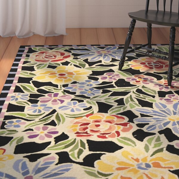 Kinchen Hand-Hooked Wool Blue/Black Area Rug by August Grove