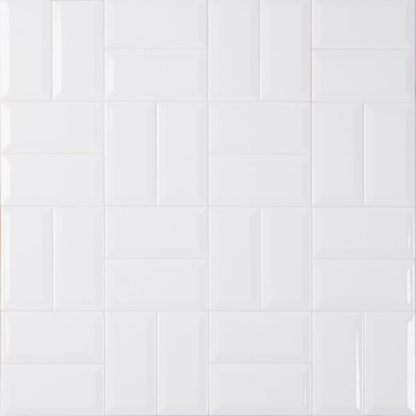 Glossy Beveled 3 x 6 Ceramic Subway Tile in White by MSI