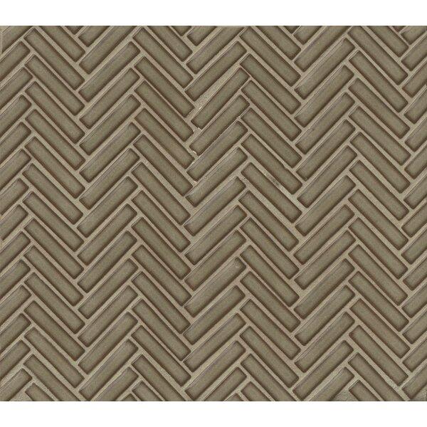 Herringbone Mosaic 11 x 12.25 Porcelain Tile in Gray by Grayson Martin