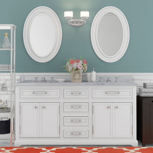 Bergin 72 Double Sink Bathroom Vanity Set with Mirror and Faucets by Three Posts
