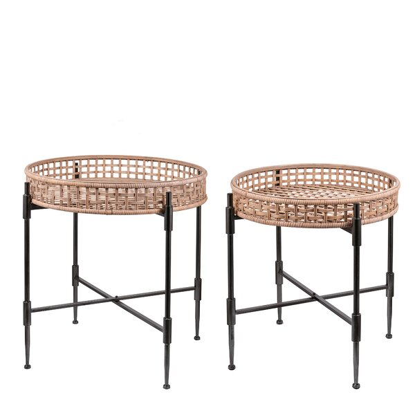 Gambardella Rattan Tray Table Set (Set of 2) by August Grove