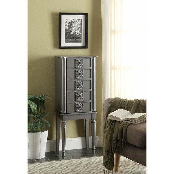 Borkowski Stylish Classy Free Standing Jewelry Armoire with Mirror by House of Hampton House of Hampton