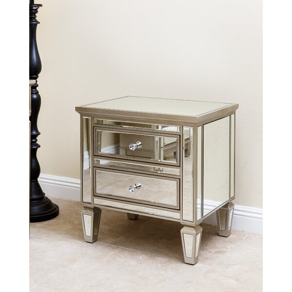 Guadeloupe 2 Drawer Mirrored Accent Chest by House of Hampton House of Hampton