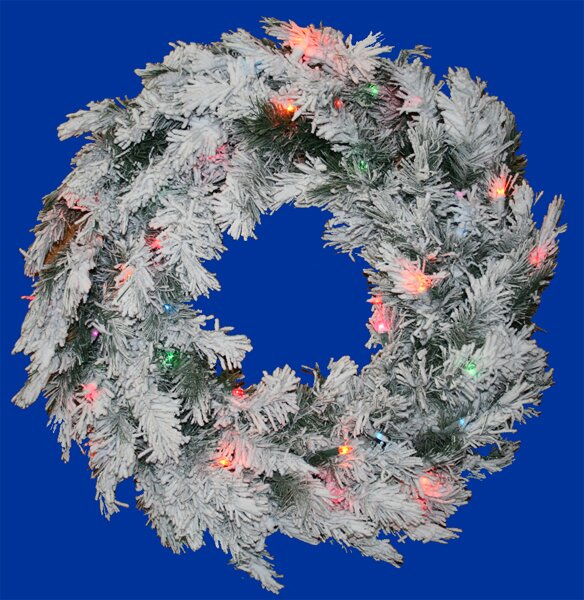 36 Lighted Artificial Flocked Alaskan Christmas Wreath by Vickerman