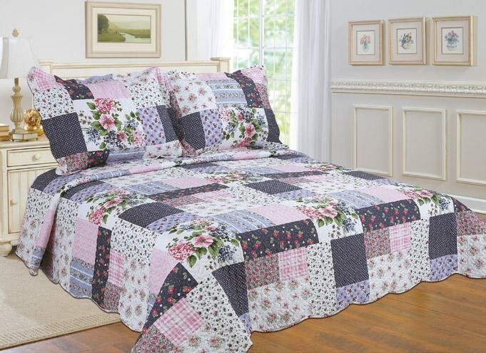 BEAUTIFUL 5 PC FLORAL PATCHWORK BLUE GREEN PINK PURPLE RED ROSE SOFT QUILT SET