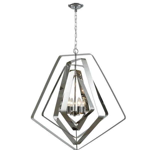 Stpeter 6 - Light Candle Style Geometric Chandelier By Orren Ellis