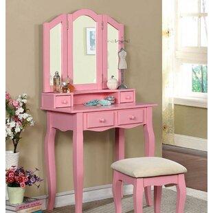 Merveilleux Blush Pink Vanity Stool | Wayfair