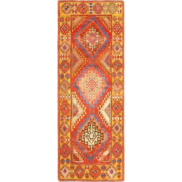 One-of-a-Kind Konya Hand-Knotted Before 1900 Red/Orange/Beige 4' x 10'7 Runner Wool Area Rug