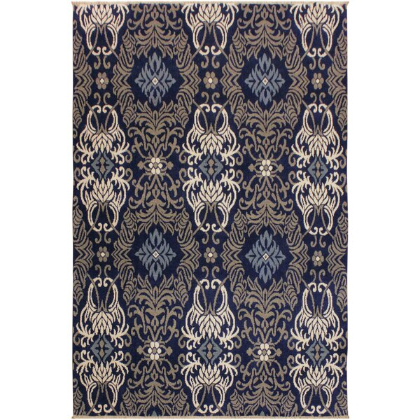 One-of-a-Kind Barbera Hand Knotted Wool Navy/Gray Area Rug by Bungalow Rose