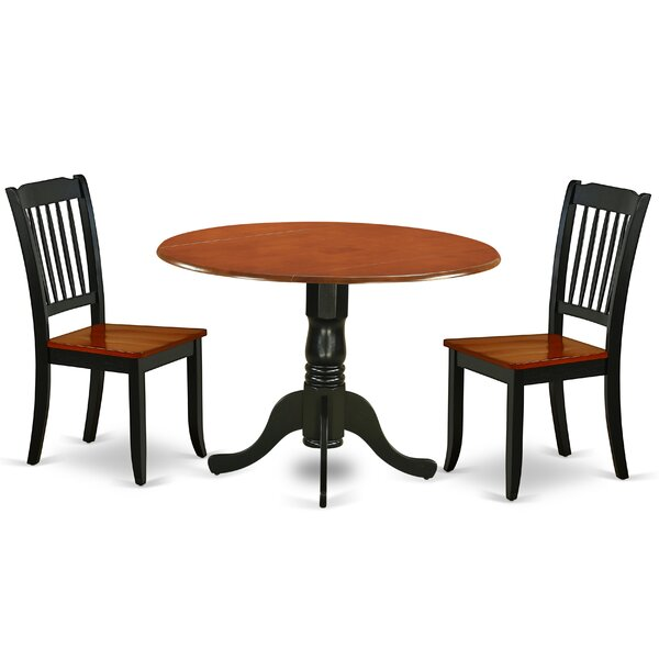 Krohn 3 Piece Drop Leaf Solid Wood Dining Set by August Grove