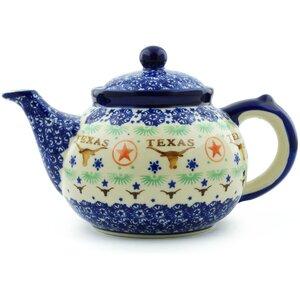 Texas State 1.6 Qt. Polish Pottery Teapot