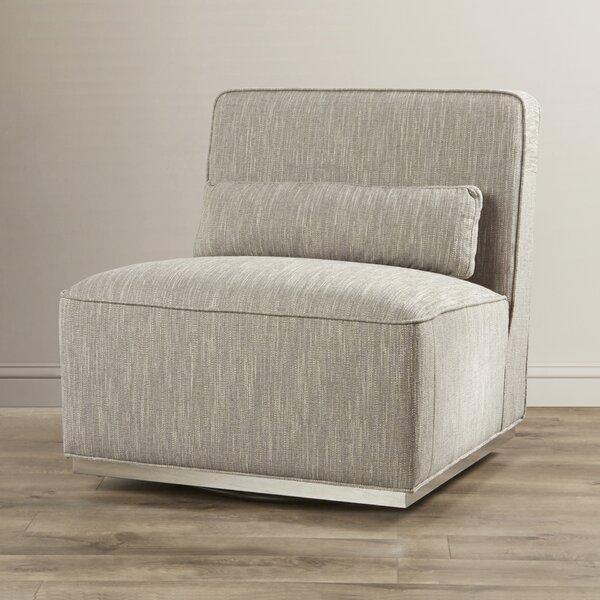 Deveau Swivel Slipper Chair by Everly Quinn