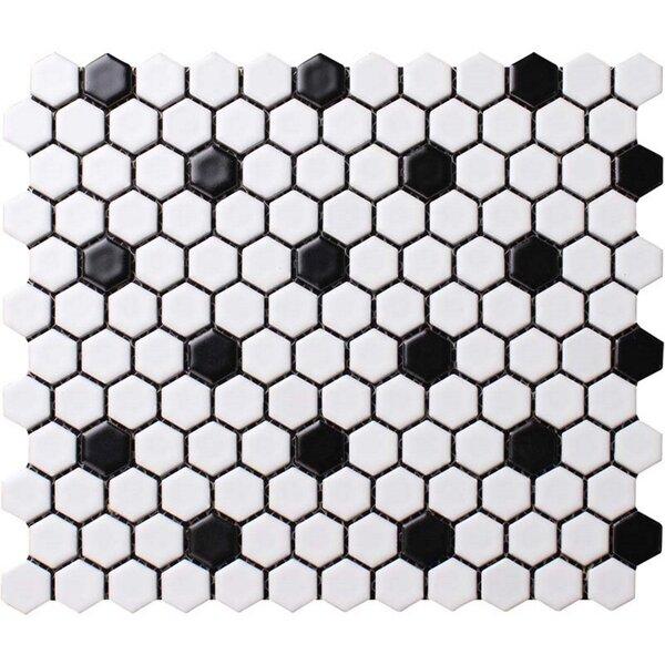 Value Series Dot 1'' x 1'' Porcelain Mosaic Tile in Matte White/Black by WS Tiles