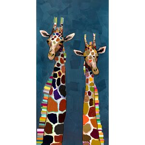 'Giraffe Family' of Four Diptych by Eli Halpin Painting Print on Canvas by GreenBox Art