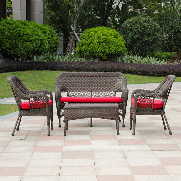 Marthasville 4 Piece Rattan Sofa Seating Group with Cushions by Bay Isle Home