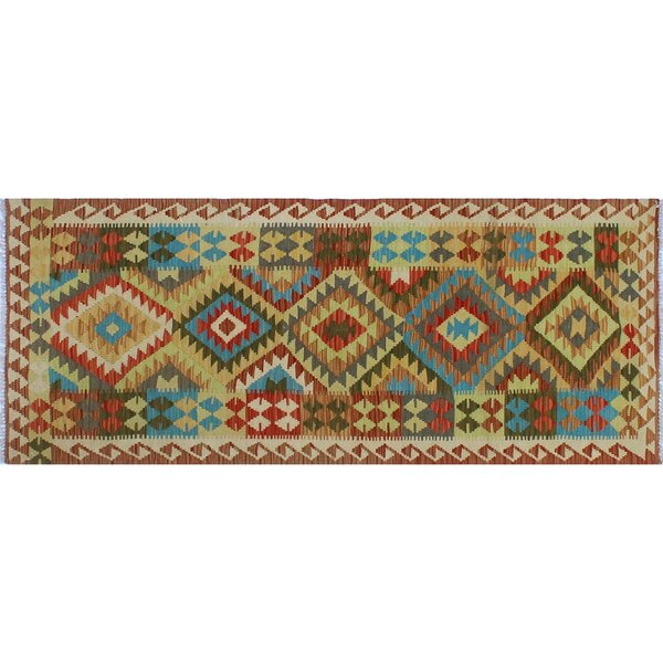 Corda Hand-Knotted Wool Blue/Brown Area Rug by Bungalow Rose