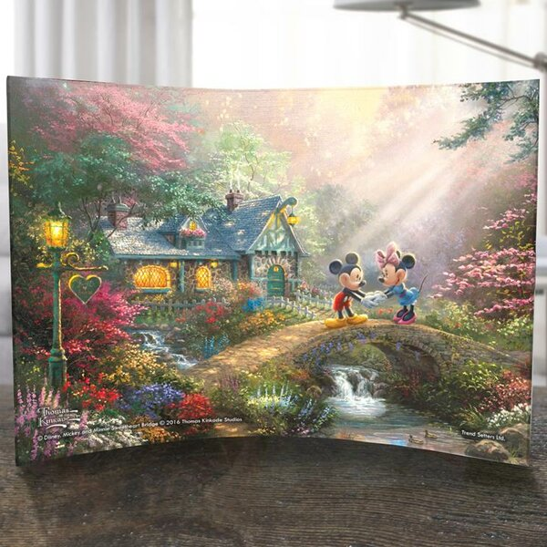 Disney Mickey and Minnie Sweetheart Bridge Curved Acrylic Print by Trend Setters
