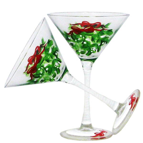 Drouin Mistletoe Martini 7 oz. Glass Every Day Glass (Set of 2) by The Holiday Aisle