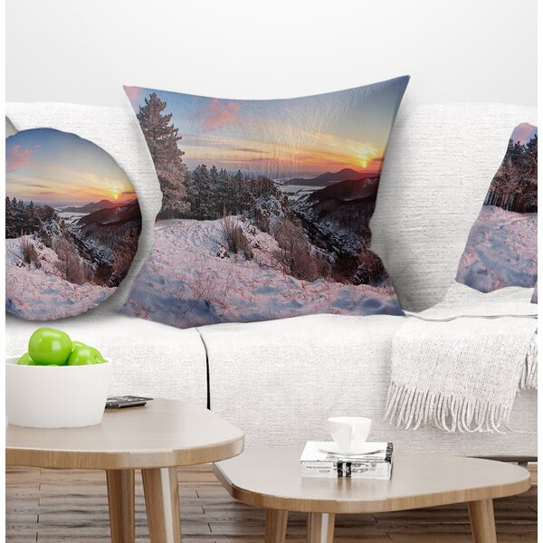 Landscape Printed Slovakia Panorama at Winter Pillow by East Urban Home