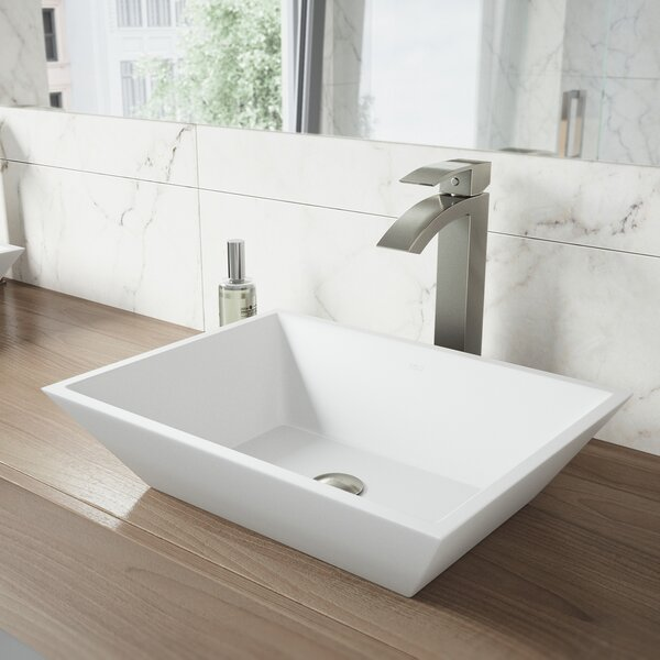 VIGO Matte Stone Rectangular Vessel Bathroom Sink by VIGO