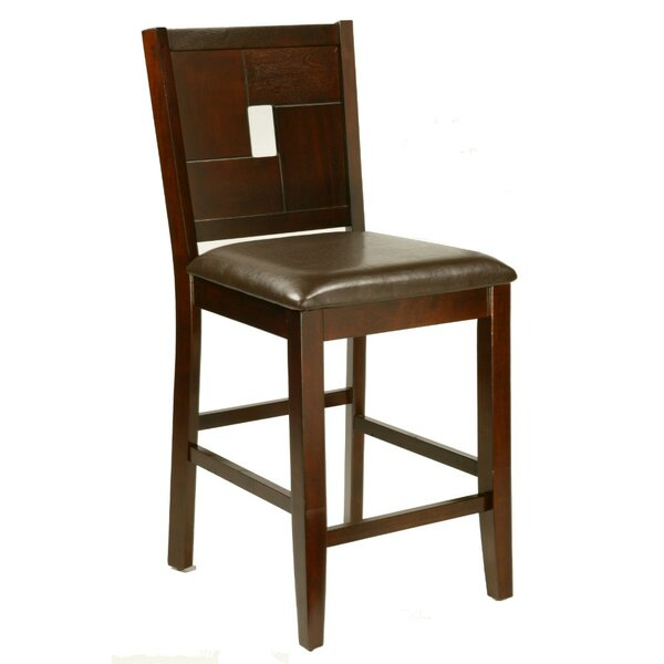 Roloff Leather Upholstery Counter Height Bar Stool (Set of 2) by Bloomsbury Market