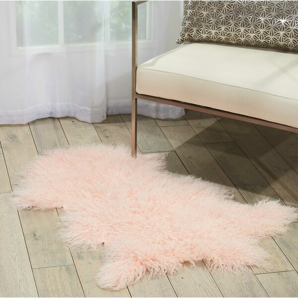 Highbury Contemporary Sheepskin Rose Area Rug by House of Hampton