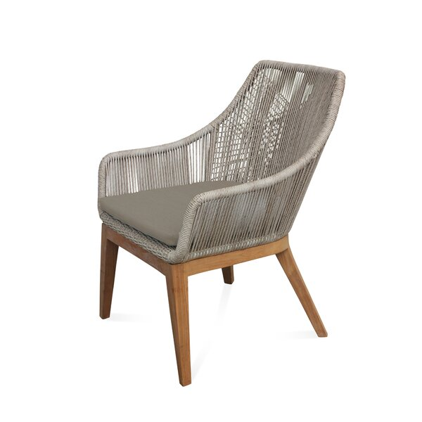 Judith Teak Patio Chair with Cushion by Bungalow Rose Bungalow Rose