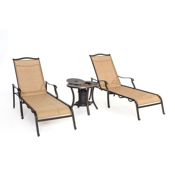 Carlee 3 Piece Reclining Chaise Lounge Chair Set