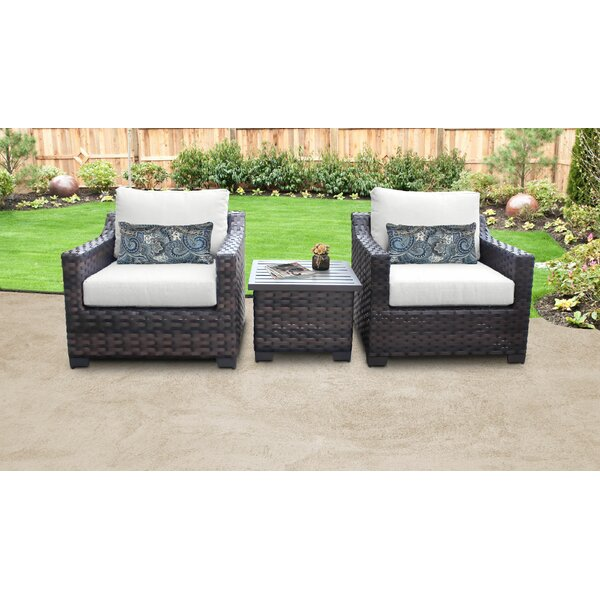 River Brook 3 Piece Outdoor Wicker Patio Furniture Set 03a by kathy ireland Homes & Gardens by TK Classics