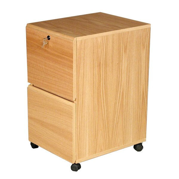 Modular Real Oak Wood Veneer 2-Drawer Mobile File Cabinet by Rush Furniture