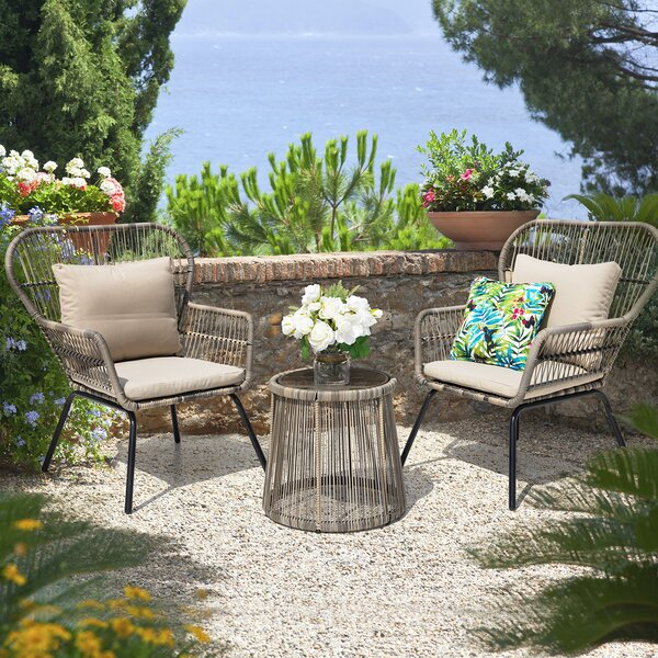 Mclaurin 3 Piece Rattan Seating Group (Set Of 3) By Bungalow Rose by Bungalow Rose Purchase