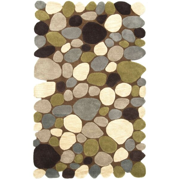 Keshawn Hand-Tufted Brown/Ivory Area Rug by Wrought Studio