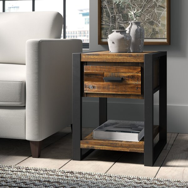 Telfair Wood End Table with Storage by Greyleigh