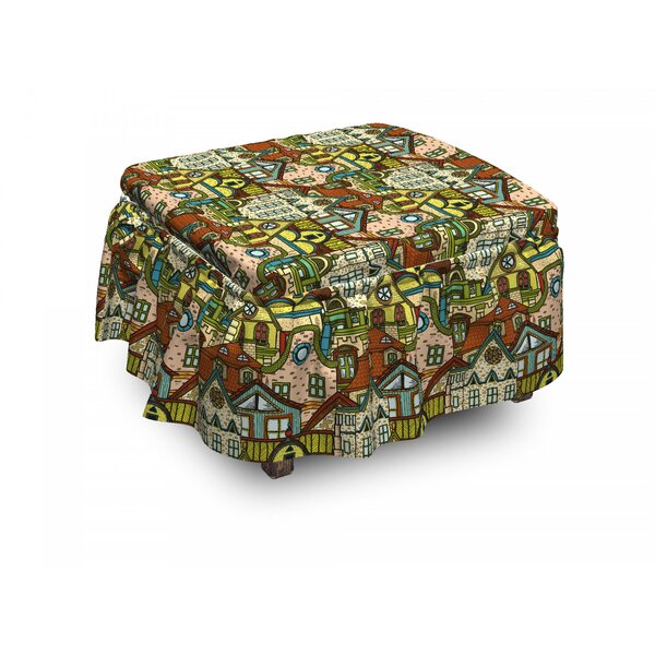 Retro Old City Town 2 Piece Box Cushion Ottoman Slipcover Set By East Urban Home