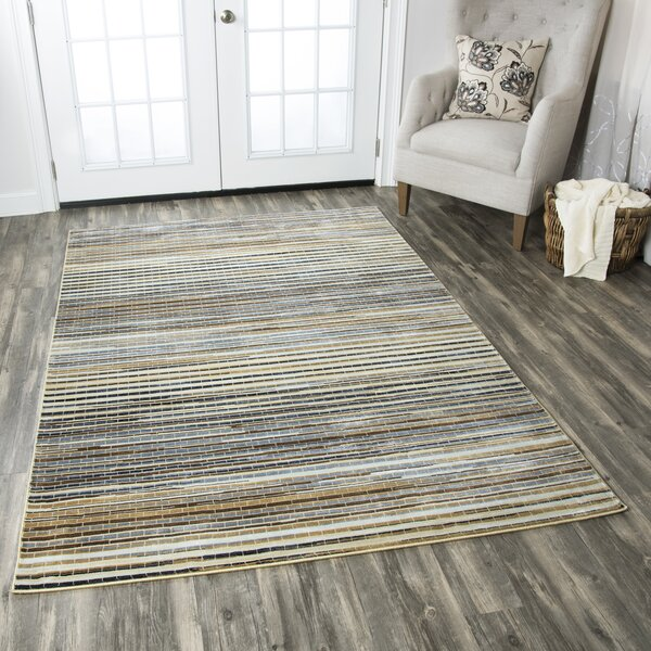 Beige/Navy Area Rug by The Conestoga Trading Co.