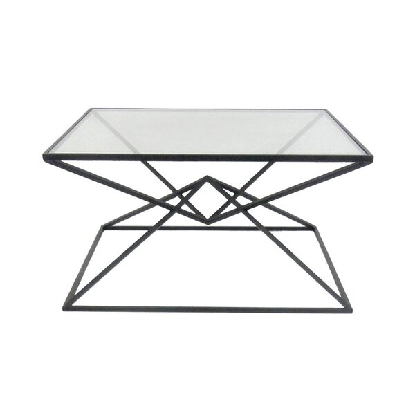 Carmon Metal Glass Top Coffee Table by Ivy Bronx