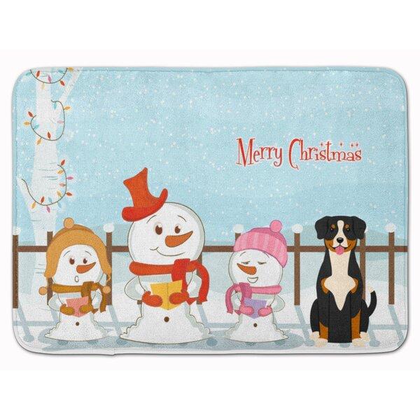 Merry Christmas Carolers Entlebucher Rectangle Microfiber Non-Slip Bath Rug