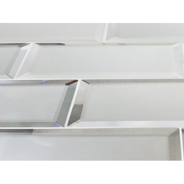Echo Matte 4 x 12 Mirror Glass Subway Tile in Silver by Abolos