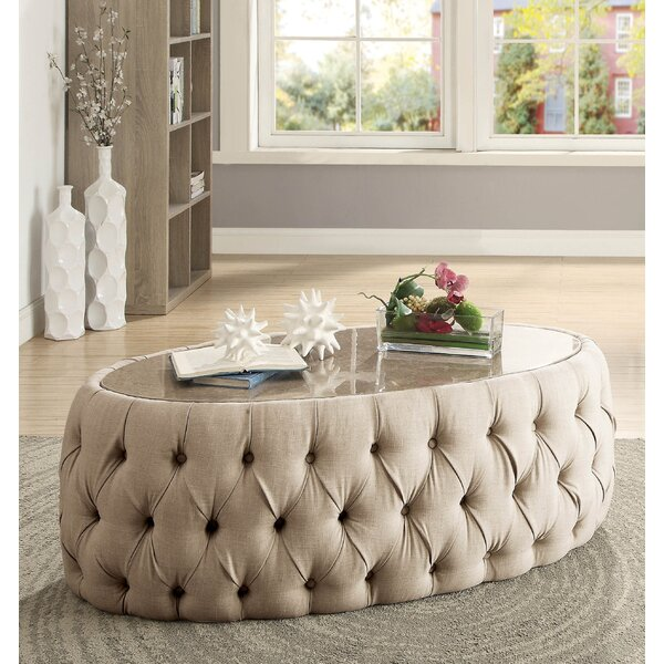 Regan Oval Upholstered Coffee Table by Everly Quinn