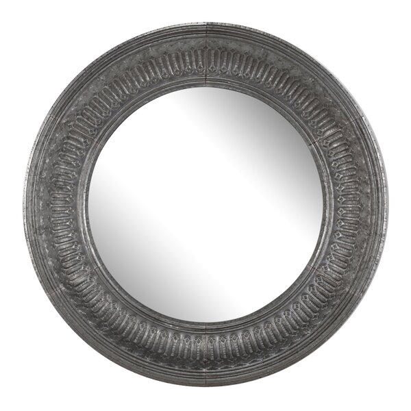 Round Gray Accent Wall Mirror by Astoria Grand