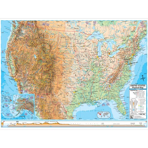 United States Advanced Physical Mounted Wall Map by Universal Map