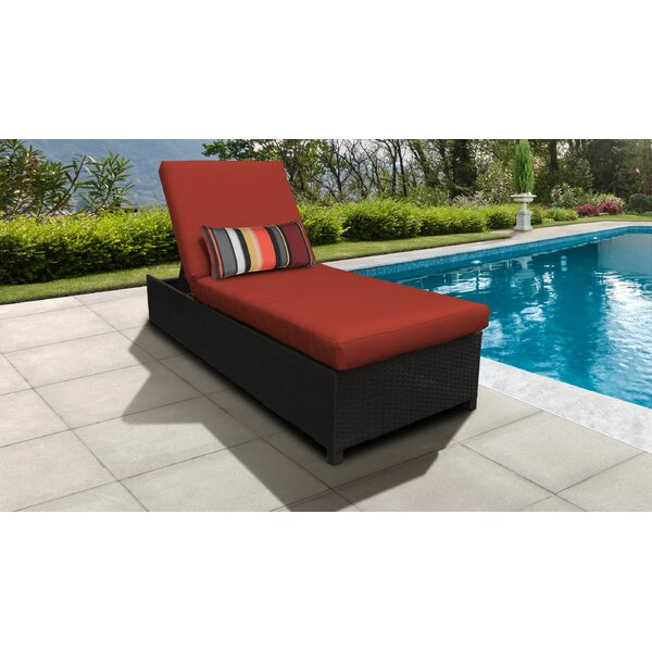 Tegan Outdoor Wheeled Reclining Chaise Lounge with Cushion by Sol 72 Outdoor