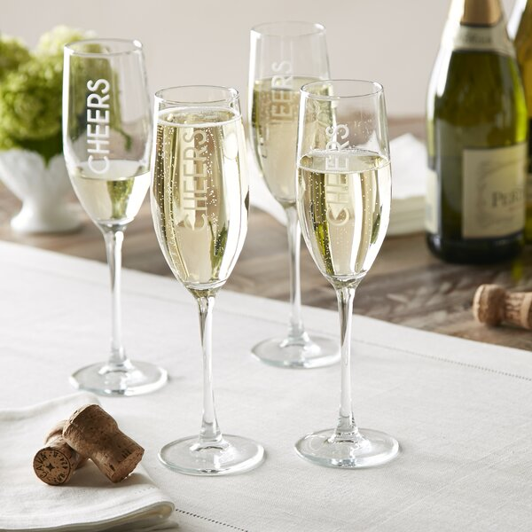 Cheers Champagne Flutes (Set of 4) by Birch Lane™