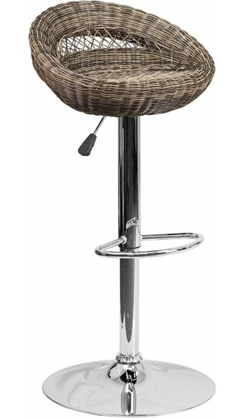 Pervez Wicker 5 Rounded Back Adjustable Height Swivel Bar Stool by Highland Dunes