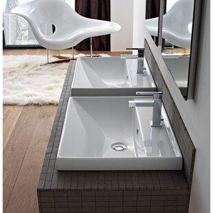 Order ML Ceramic Rectangular Dual Mount Bathroom Sink with Overflow ByScarabeo by Nameeks