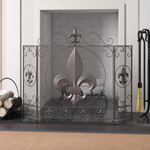 Devers Fleur De Lis 3 Panel Metal Fireplace Screen By Ophelia & Co.
