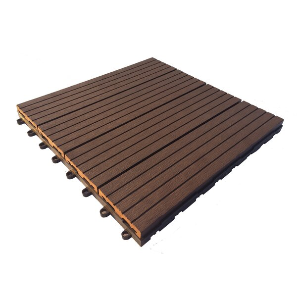 12 x 12 Composite Interlocking Deck Tile In Walnut