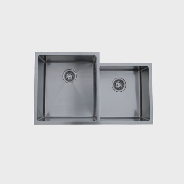 20.5 L x 16 W Undermount Double Bowl Stainless Steel Kitchen Sink by Ukinox